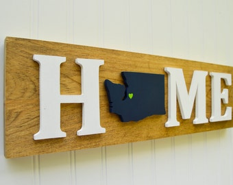"Seattle Seahawks ""State Heart"" Home Sign - Handcrafted wood with official team colors"