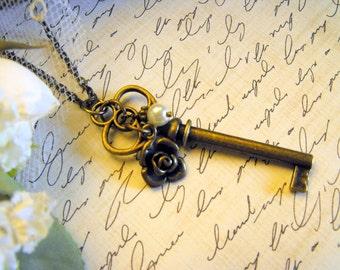 Key Necklace, Key Pearl Antique Brass Rose Necklace,Skeleton Key Necklace,