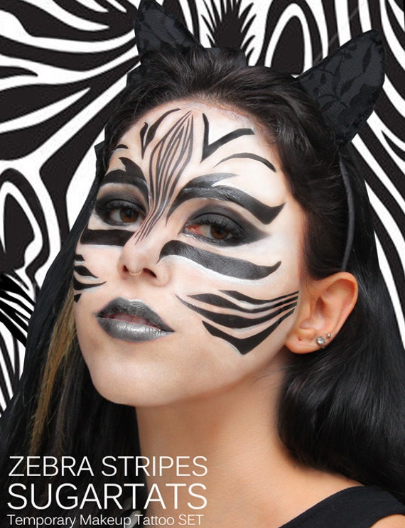 zebra streifen sugarttats tempor res make up tattoos. Black Bedroom Furniture Sets. Home Design Ideas