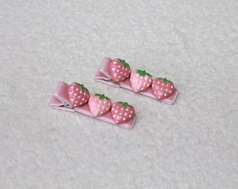 Pink Strawberry Hair Clip