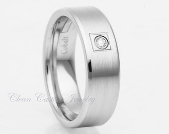 Titanium Wedding Band,Titanium Diamond Ring,Satin Polish,Beveled Edges,Handmade,Custom,Pipe Cut,Comfort Fit,Titanium Diamond Ring