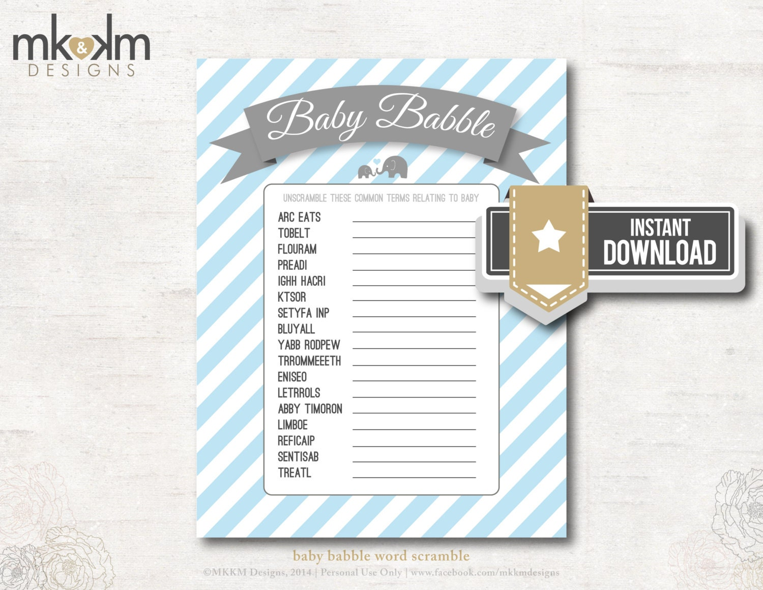 Baby Shower Word Scramble Black And White Baby babble word scramble ...
