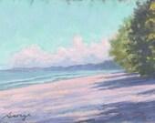 """Original Pastel Landscape Painting, summer beach scene, clouds, miniature art, shoreline -  """"Distant Clouds"""" by pastel artist Colette Savage"""