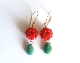 Coral Ball & Turquoise Drop Dangle Earrings - Red Coral Ball Earrings with 14K Gold filled Earwires -  Earrings