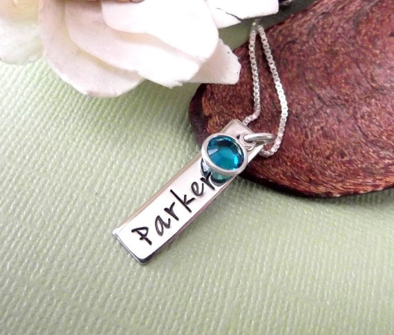 Hand Stamped Mommy Necklace- Mother's Day Gift- Mommy Jewelry- Name Tag Necklace with Birthstonr