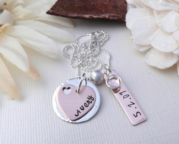 New Mom Jewelry- Mixed Metal Jewelry- New Mommy Gift- Personalized Mother Necklace- Hand Stamped Jewelry- Mommy Jewelry- Mom Necklace
