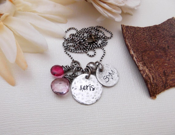 Family Necklace- Personalized Mom Jewelry- Rustic Necklace- Mommy Jewelry- Hand Stamped Necklace- Mom Birthstone Necklace- Mother's Day Gift