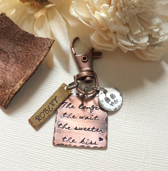 The Longer The Wait The Sweeter The Kiss- Deployment Key Chain-  Military Key Chain- Military Girlfriend- Military Wife- Deployment Gift