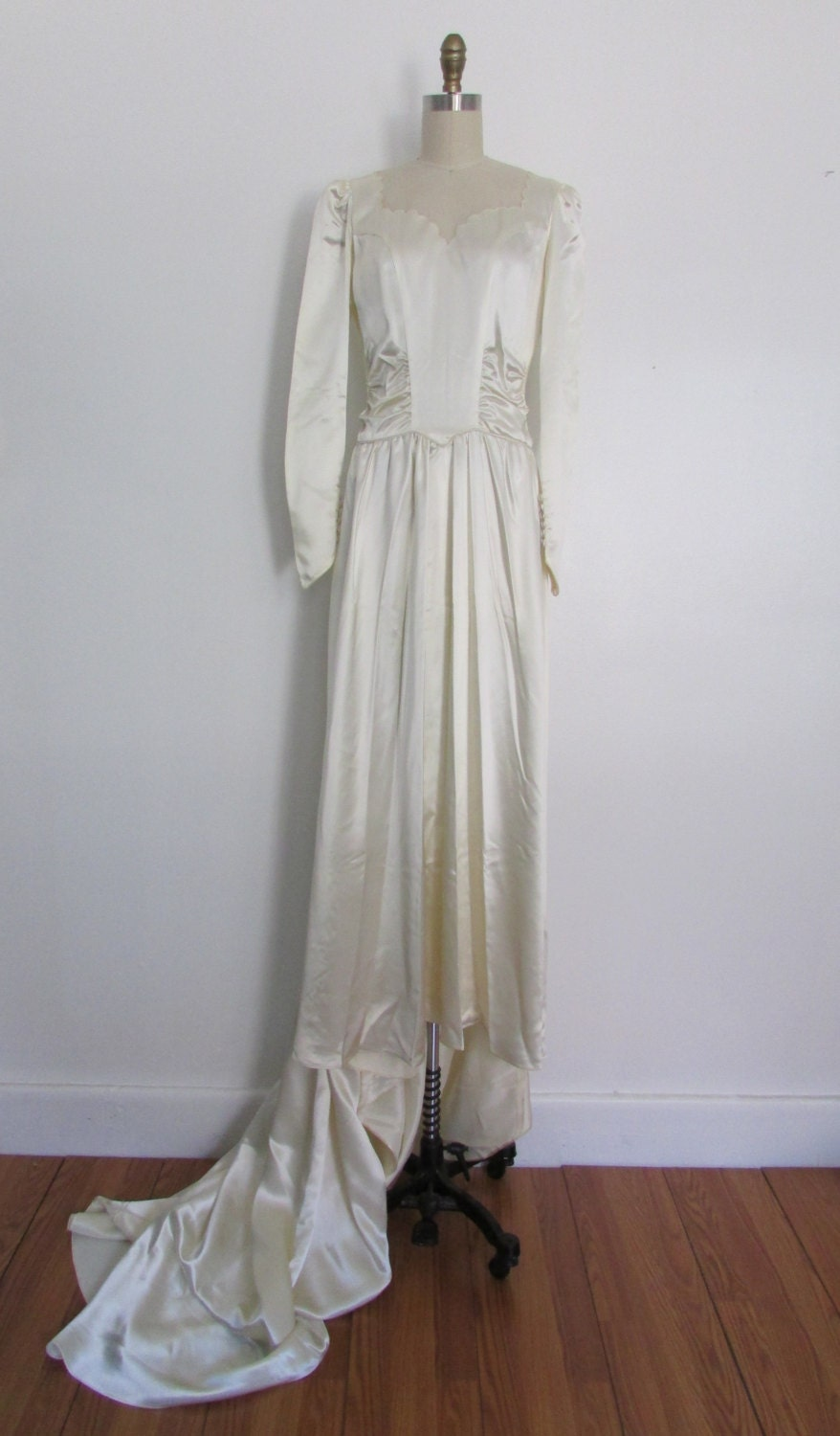 1940s satin wedding gown vintage 40s satin wedding gown with
