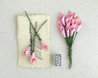 Mini Calla Lilies - Pink mulberry paper flowers with wire stems (10 pack) - Perfect for scrapbooking, wedding favor & boutonnieres [119]