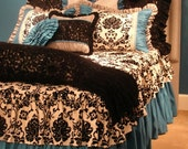 Queen Size Turquoise, Black and White Damask & Toile Girls Bed Cover