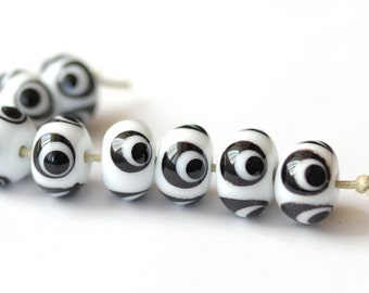 Handmade Lampwork Beads - 8 Beads Set  - Black White Dotted
