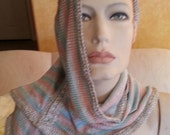 Sexy Sparkling Metallic Pastel Striped Knit Infinity Wrap Shawl Scarf Shrug Party Club Bridal Evening