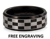 8MM Tungsten Carbide Wedding Band, Tungsten Ring, Comfort Fit, Custom Engraved Ring, Black Checkered Design Custom Engraved