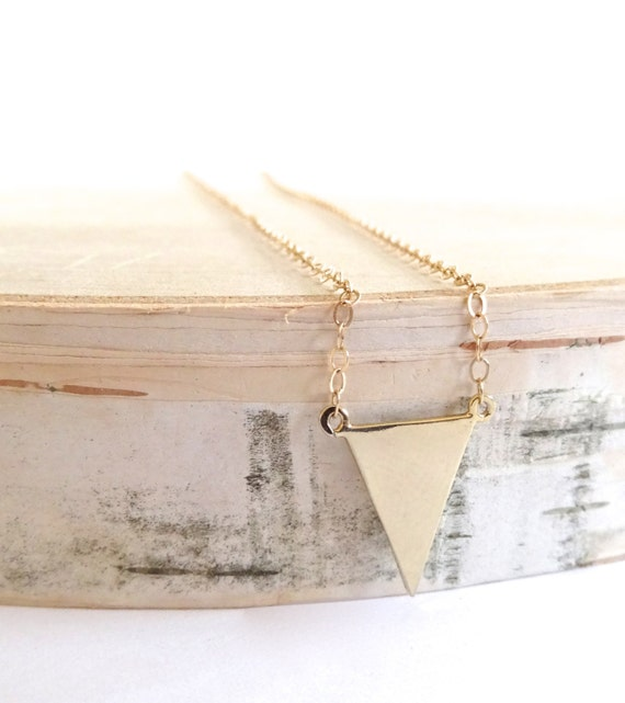 Gold Triangle Necklace, Thin Delicate Gold Filled Chain, Landon Lacey, Everyday Gold Layer Necklace, Delicate Gold Necklace, Dainty Necklace