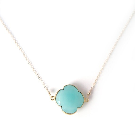 Suspended Turquoise Four Leaf Clover Necklace