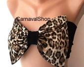 PADDEE Bow Bandeau -Swimwear-Swimsuit- Bikinis Top - Spandex Bandeau -sun bathing-leopard