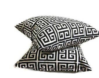 2/18x18 Black and Off White Greek Key Throw Pillow Covers