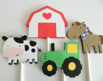 Farm Cupcake Toppers Barnyard Cupcake Toppers Farm Animal Cupcake Toppers Farm Birthday Party Barnyard Birthday Party • Set of 12