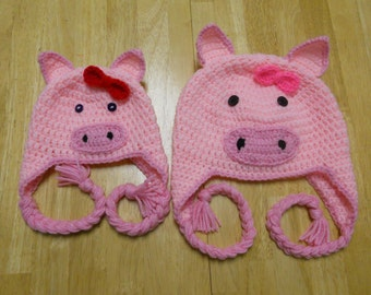 Crochet Pig Earflap Hat, Baby Child and Adult Sizes, Pink Pig Hat, Pig Hat, Piggy Hat