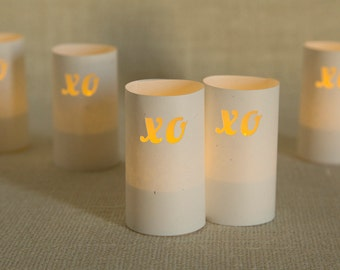 Wedding Decoration, Valentines Day Decor, XO Luminarias, Reception Table Decoration, Hugs and Kisses, Set of 5, Valentine Day