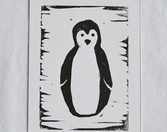 Penguin linocut 5 x 7