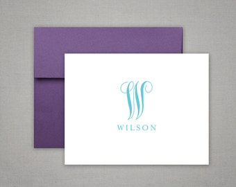 Personalized Stationery - Monogram and Name - Thank You - Top Fold Notes - Personalized Stationary