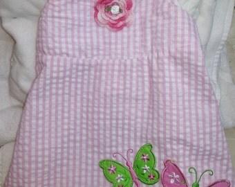 Girls Baby Infant Toddler Pink Gingham Dress Sundress - Handmade Irish Rose - Pink, White, Green - Sizes 6-9, 12, 24 months