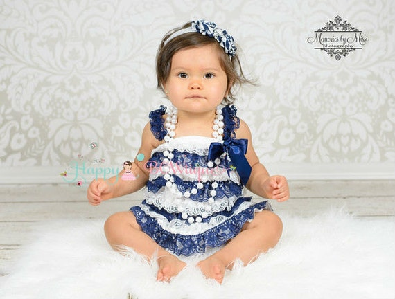 nautical dress baby girls dress Navy Blue Stripes by