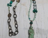 Buddha Amulet with turquoise, topaz, pyrite, green onyx, and smoky quartz, hand forged closure handmade, one-of-a-kind by ladeDAH! jewelry
