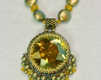 Swarovski Sunflower Crystal and Iridescent Green Pearl Necklace with 27mm Rivoli Pendant, Handmade SRAJD 3520