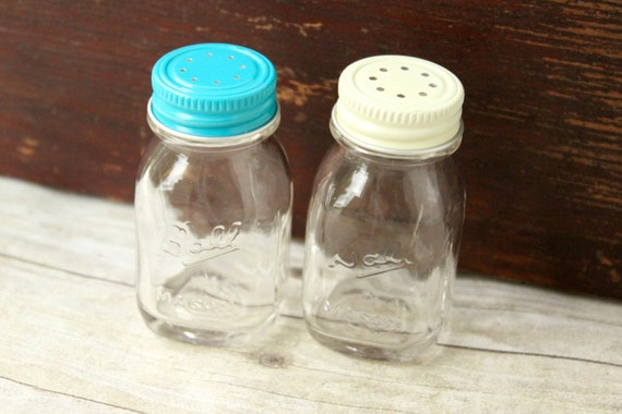 Vintage Mason Jar Salt And Pepper Shakers By