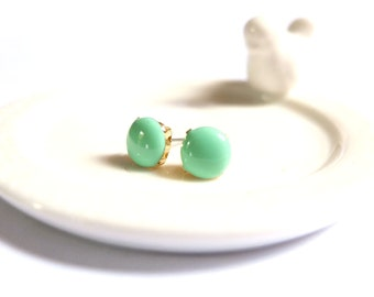 Mint Green Earrings, Mint Green Stud Earrings, Enameled, Glossy, Round Stud Earring, Mint Green Studs, Clip On Earring, Magnetic Earring
