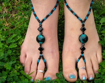 Black and Teal Swirl Barefoot Sandals, Slave Anklet, foot jewelry, ankle bracelet with toe ring