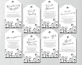 PRINTED, Milestone Wine Tags, Wine Tags Bridal Shower, Wine Poem Tags, Year of Firsts Wine Tags, White