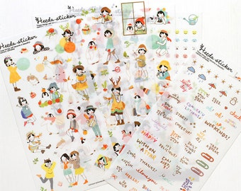 Korean Sticker - Heeda Sticker Set - Diary Sticker - Deco Sticker - 6 sheets PVC sticker