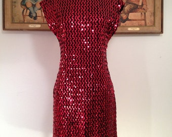 1970s Frederick's of Hollywood Sequined Party Dress--Sparkling Red Sequins