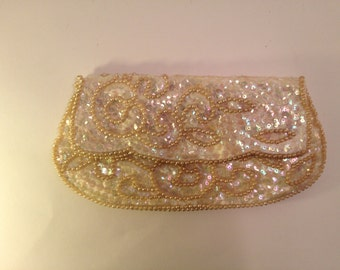 1950s Beaded and Sequined Bag by David's Import--Foldover Clutch