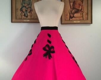 1950s Novelty Felt Skirt--Hot Pink and Black Velvet