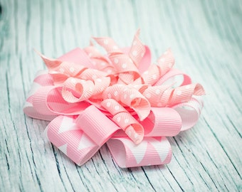Pink and White Chevron Ribbon Stacked Korker Bow