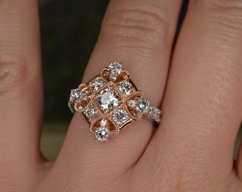 Mixed Metal Art Deco-Inspired Diamond Ring (18K Rose and White Gold)
