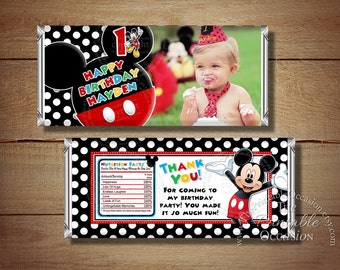 ANY AGE Printable Mickey Mouse Birthday Candy Bar Wrapper, Red Polka Dots Mickey Mouse Candy Wrapper, Mickey Mouse Birthday Party Printables