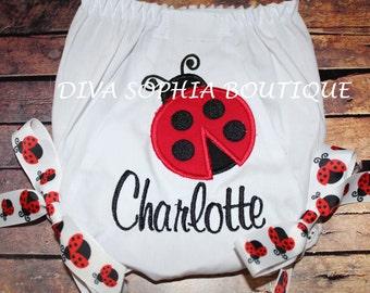 Ladybug underwear etsy personalized ladybug bloomer with bows personalized diaper cover birthday negle Choice Image