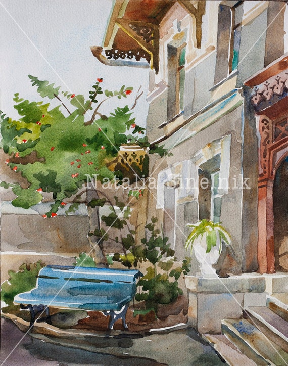 Old building fasade architectural landscape digital download from original watercolor Yalta Crimea street clipart