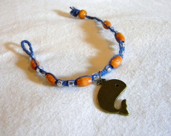 Whale Pendent on Dark Blue Hemp