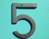 5 Inch Cast Iron Metal Number 5 - WITH DRILL HOLES for Mounting