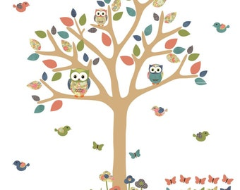 Nursery Wall Decal, Owl Tree Decal, Owl tree wall sticker, owl wall decal, Tree Decal, Indie Bloom with Lt. Brown Tree