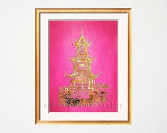 Pink Wall Art, Pagoda, Palm Beach Chic, Pink Pagoda Art, Pink Decor, Palm Beach Chic, Chinoiserie Wall Art, Pink Gold Pagoda, Asian Style