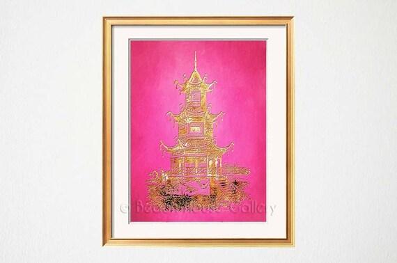 Beach Chic Wall Decor : Pink wall art pagoda palm beach chic