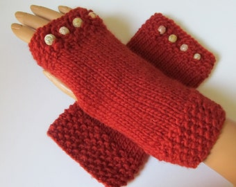 Copper Burnt Orange Alpaca Blend Fingerless Texting Mittens,Handwarmers, Hand Warmers, Carved Stone Beads, Handmade
